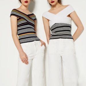 Zara Knit Crossover Off Shoulder Ribbed Top